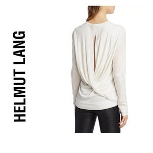 NWT Helmut Lang White Twist Back Jersey Top,  XS